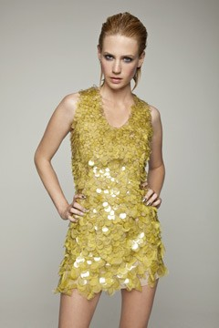 January Jones yellow pailette dress malibu magazine Blue Issue