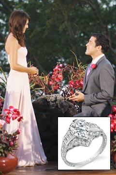 Ed Swiderski bended knee proposal Jillian Harris bachelorette engagement ring strapless dress