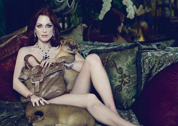 Julianne Moore nude lion cubs Bulgari Fall/Winter Campaign