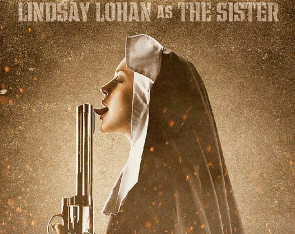Lindsay Lohan as The Sister nun licking gun