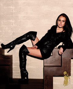 Lindsay Lohan 6126 Fashion Line black knee-high boots