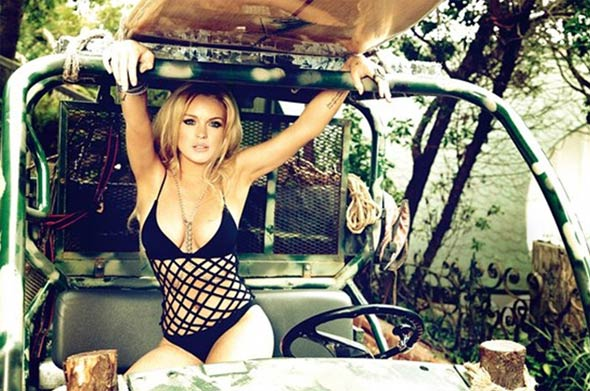 lindsay lohan german gq black crochet net one-piece truck