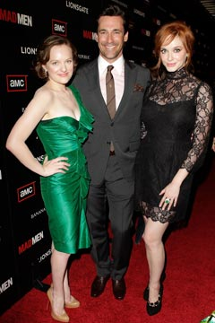 Mad Men Elisabeth Moss green one-shoulder dress Jon Hamm Christina Hendricks black lace dress