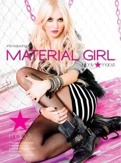taylor momsen material girl ad madonna clothing collection macy's combat boots striped skirt faux fur vest chains fence