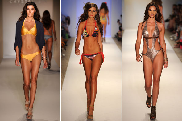 Miami Swim Week 2011 Crystal Jin Ed Hardy Beach Bunny yellow cut-outs