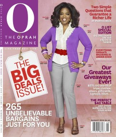 o magazine oprah winfrey the big deals issue cover august 2010 purple cardigan red belt white blouse 