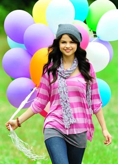selena gomez kmart colorful balloons pink striped shirt