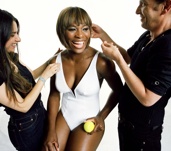 serena williams white one-piece bathing suit harper's bazaar bob behind-the-scenes photo shoot