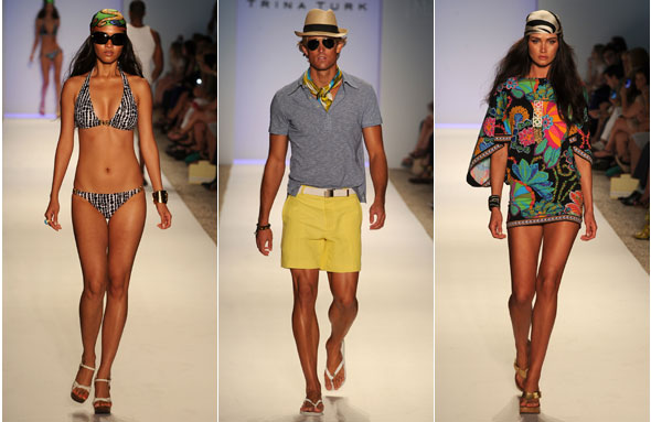 trina turk runway 2011 miami fashion week bikini cover-up mr turk headscarves