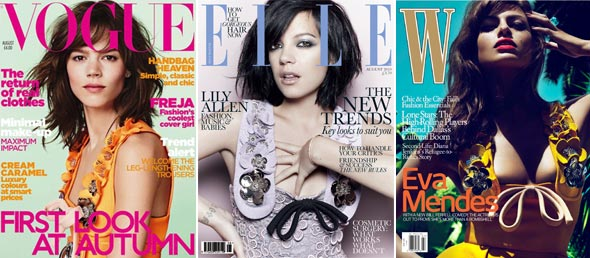 Freja Beha Erichsen Vogue UK Lily Allen Elle UK Eva Mendes W magazine august 2010 covers miu miu embellished dress