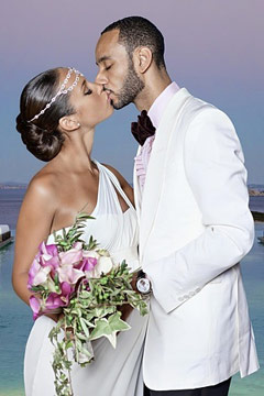 alicia keys wedding dress vera wang white goddess gown one-shoulder swizz beatz white jacket pink shirt bow tie kissing pool