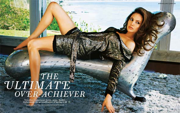 Angelina Jolie Stylist cover August 2010 silver sparkly dress