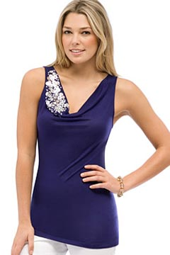 anne klein embellished tank sequins sale metallic