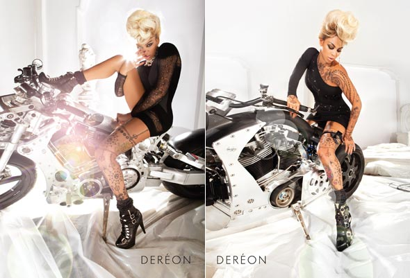 Beyonce Dereon Fall 2010 ad campaign motorcycle tattoos leather