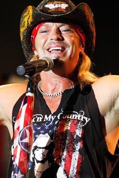 Bret Michaels bandana cowboy hat on stage