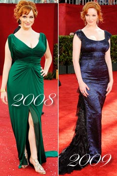 Christina Hendricks Emmy awards 2008 2009 green dress long blue dress with train