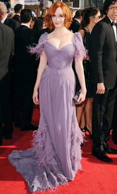 christina hendricks lavendar purple dress emmy awards 2010 zac posen bob hair cleavage