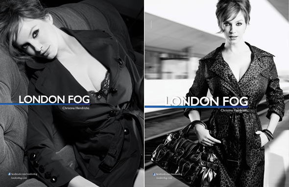 Christina Hendricks behind-the-scenes shots London Fog Fall 2010 campaign leopard print trench coat jacket red hair black trench car couch purse