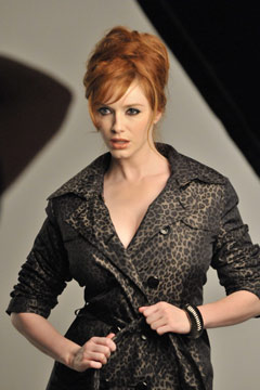 Christina Hendricks behind-the-scenes shots London Fog Fall 2010 campaign leopard print trench coat jacket red hair