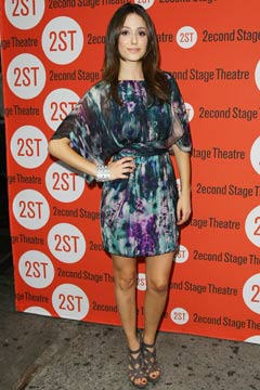 Emmy Rossum Trust Premiere tie dye watercolor dress
