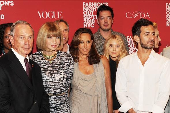 Mayor Bloomberg, Anna Wintour, Tommy Hilfiger, Donna Karan, designer Marcus Wainwright, Mary-Kate Olsen Marc Jacobs 2010 Fashion's Night Out Kick-Off press conference City Hall