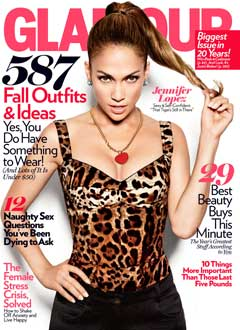 J.Lo September 2010 cover Glamour Magazine leopard print top high pony tail
