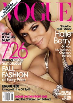 Halle Berry Vogue 2010 September cover purple velvet Ralph Lauren gown