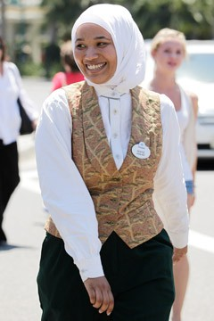 Imane Boudlal disneyland hostess muslim headscarf lawsuit uniform