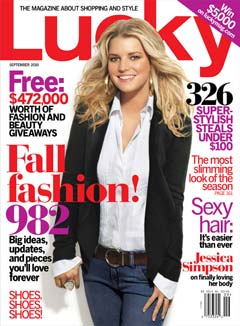jessica simpson lucky magazine september 2010 cover jeans white button-up black blazer