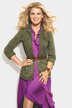 jessica simpson purple dress green military dress lucky magazine september 2010