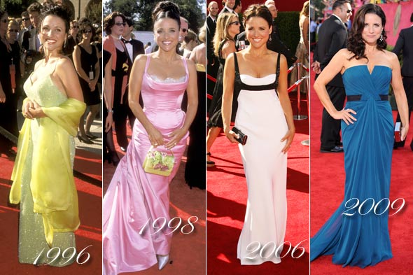 julia louis dreyfis emmy's 1996 1998 2006 2009 yellow dress pink black and white dress blue dress long