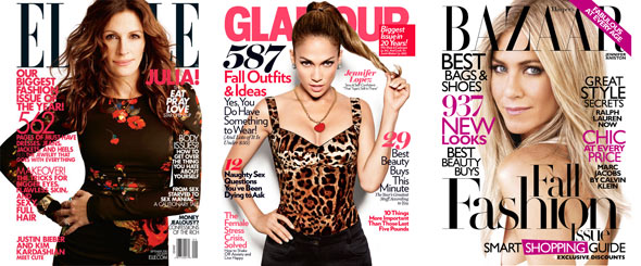Julia Roberts Elle Jennifer Lopez Glamour Jennifer Aniston Harper's Bazaar September 2010 magazine covers