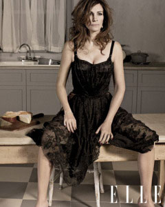 Julia Roberts black Dolce & Gabbana bustier dress Elle September 2010