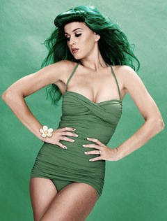 Katy Perry green swimsuit Carmen Marc Valvo The Guardian