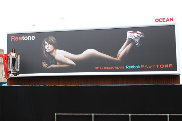 UK Reebok billboard Kelly Brook nude Reebok EasyTone sneakers