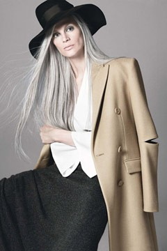 kristen mcmenamy vogue august 2010 gray hair camel trench black hat