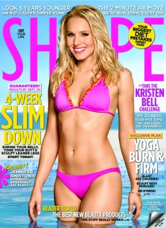 Kristen Bell Shape September 2010 cover bright pink bikini