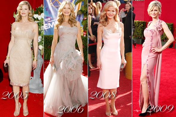 kyra sedgwick emmy's 2005 2006 2008 2009 nude dress long pink dress gown