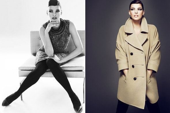 Linda Evangelista sequin dress camel coat Talbots Fall 2010 ad campaign