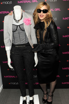 Madonna Macy's Material Girl clothing line sunglasses mannequin in store black leather gingham bustier blazer