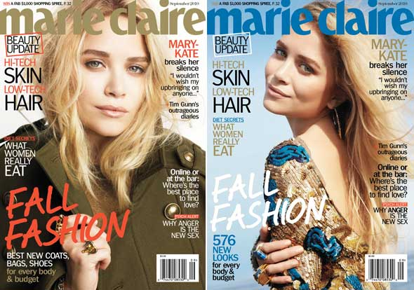 Mary-Kate Olsen Marie Claire September cover army jacket backless dress