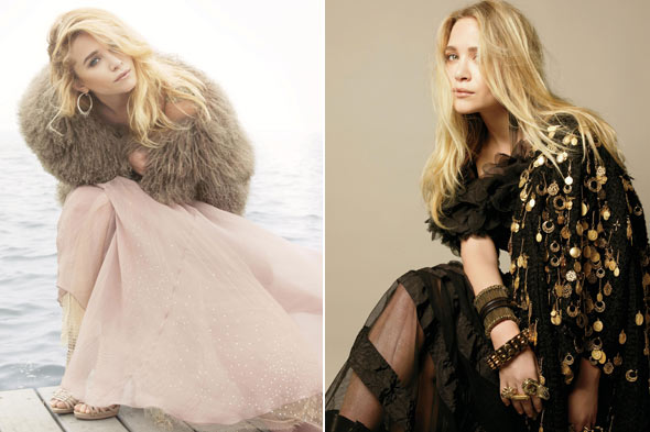 Mary-Kate Olsen Marie Claire September 2010 sheer black Giambattista Valli dress Dolce &amp; Gabbana jacket gold charms 