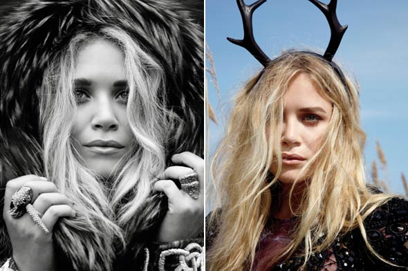 Mary-Kate Olsen Marie Claire September 2010 fur hood antlers