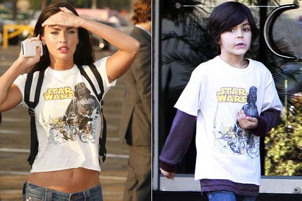 Megan Fox stepson Kassius same Star Wars white t-shirt