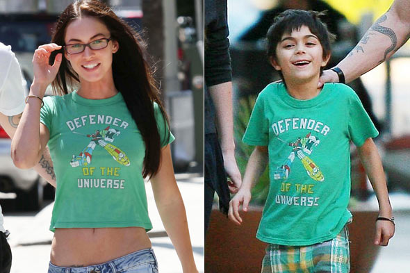 Megan Fox stepson Kassius same green Defender of the Universe t-shirt