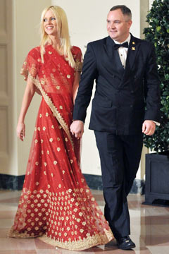 michaele sahali white house state dinner red gold sari husband tareq sahali