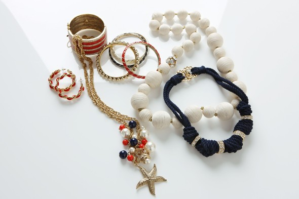 milly jewelry nautical red white navy bracelets starfish necklace gold rope