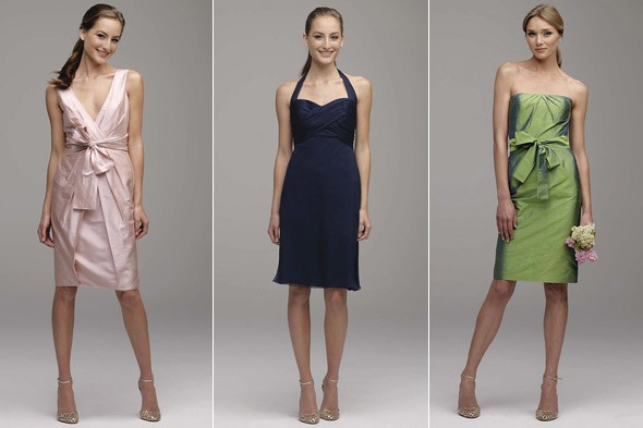 Monique Lhullier bridesmaid dresses pink blue green