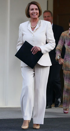 nancy pelosi white suit pants pearls bob