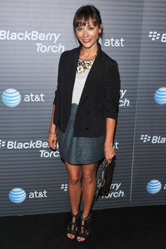 Rashida Jones Blackberry boyfriend blazer leather skirt